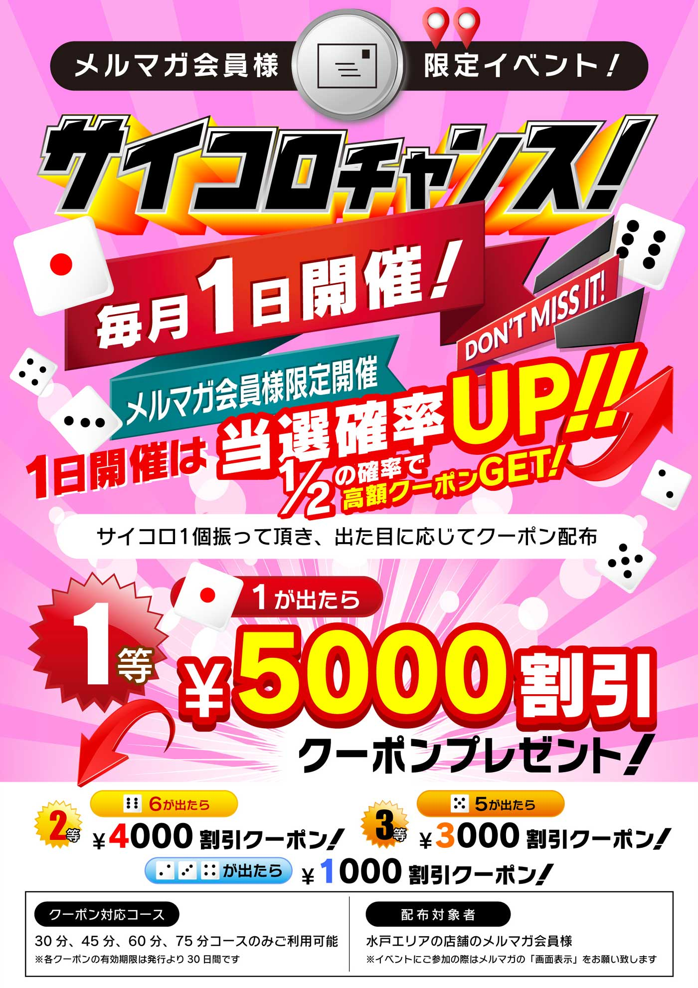 高額5000円割引のクーポン券が1/2の確率で当たる!?!?