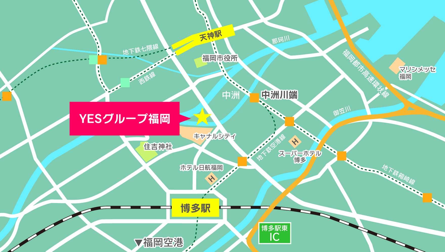 福岡中心部のマップ