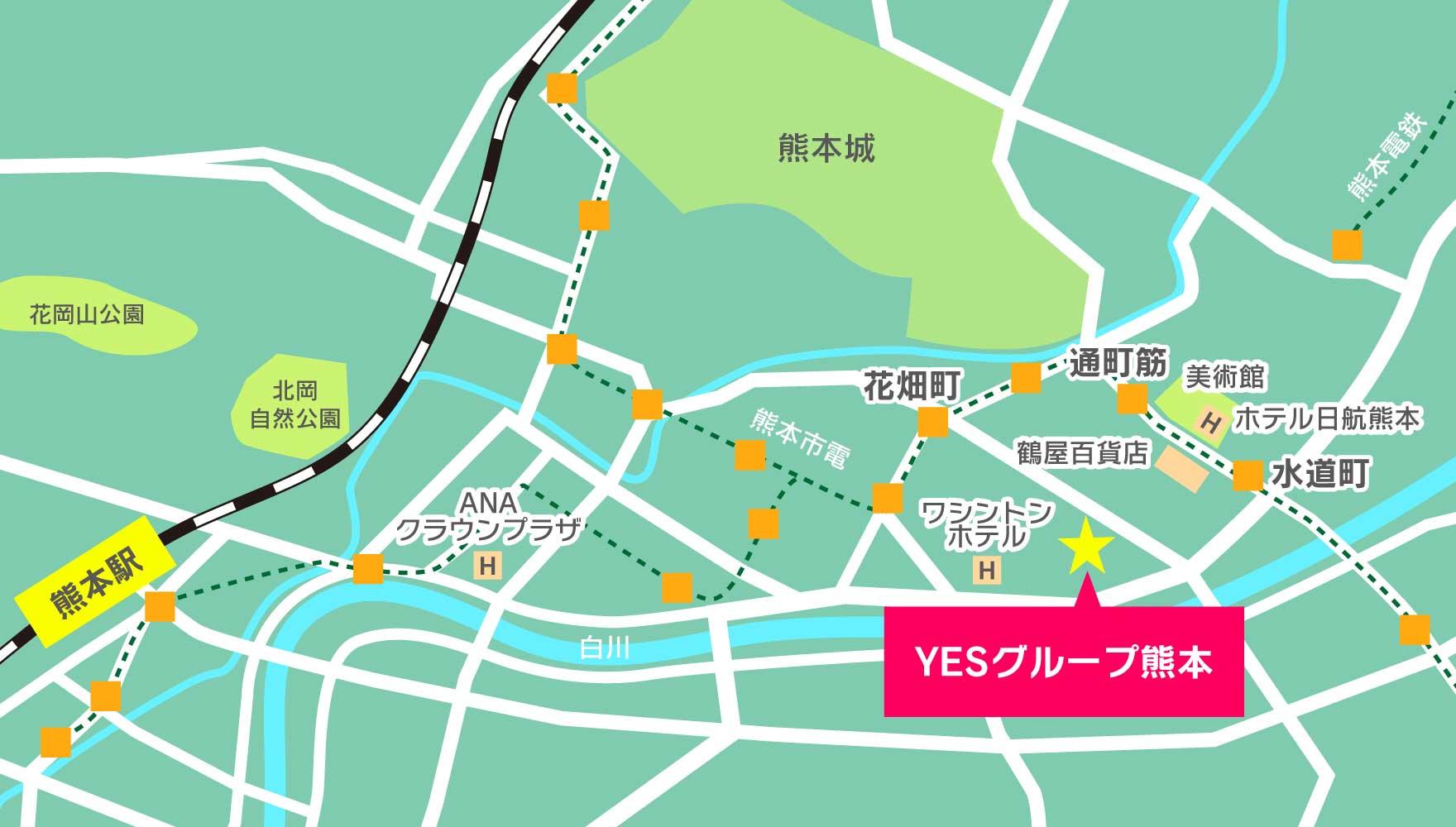 熊本中心部のマップ