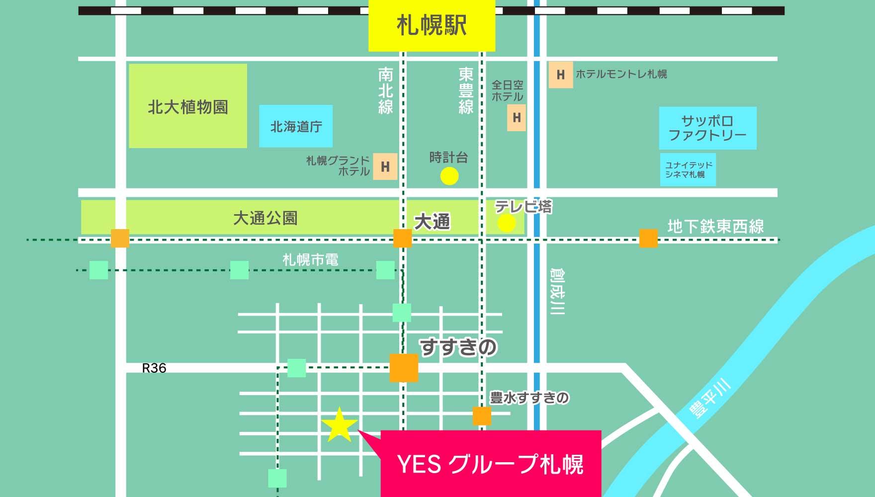 札幌中心部のマップ